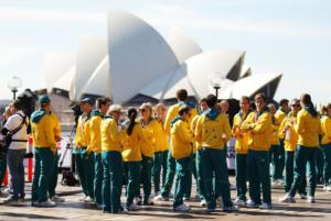 Aussies celebrate in front of spectacular Sydney backdrop