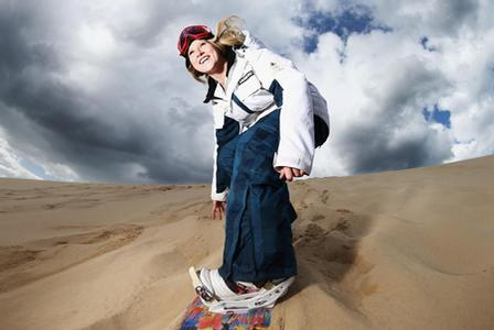 Snowboarding in the dunes
