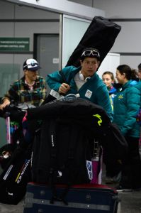 Phil Bellingham and his gear land in Sochi