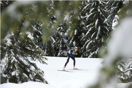 Biathlete in the woods