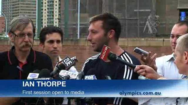 Thorpe trains in front of media pack