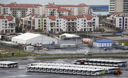 Buses outside Sochi Olympic Park