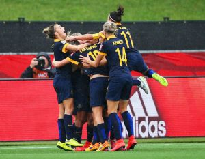 Matildas celebrate goal at World Cup