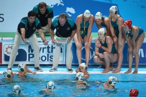 Women's water polo team during Bronze medal match