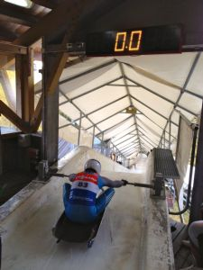 Luge start for Newton