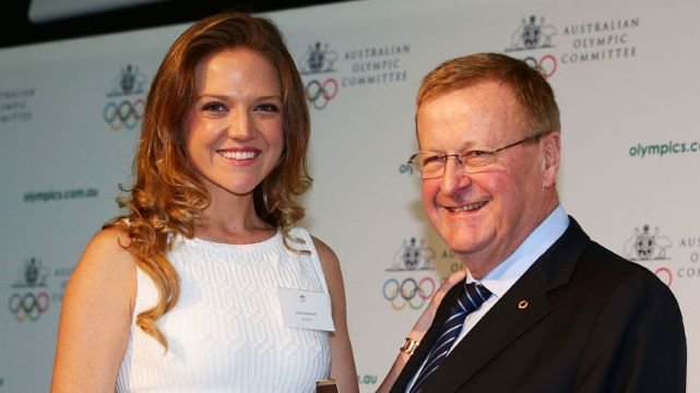 Ginia Rinehart accepts Order of Merit on behalf of Gina Rinehart