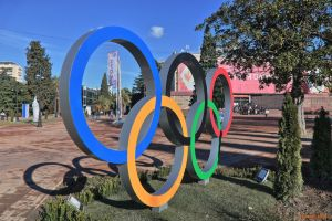 Olympic rings in Downtown