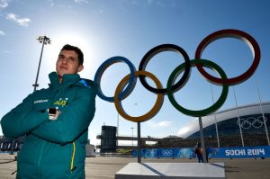 Daniel Greig in front of the rings