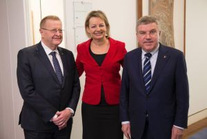 John Coates Sussan Ley and Thomas Bach