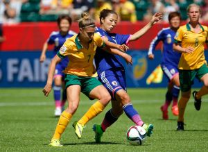 Steph Catley takes on Japan