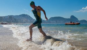 Australian triathlete Jacob Birtwhistle on Copacabana Beach