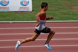 Nick Andrews on track to the YOG
