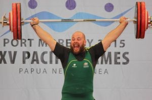 Grgorevic celebrates at 2015 Pacific Games.
