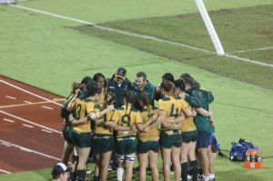 Rugby sevens Team huddle