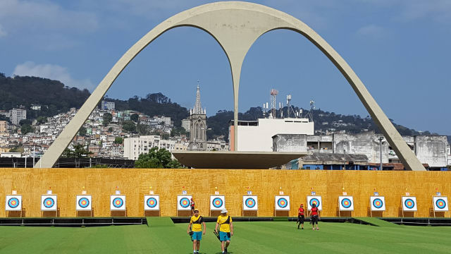 Aussie archers get training at the Sambodromo