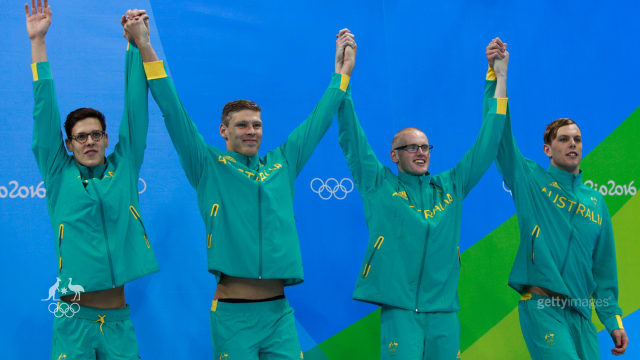 Bronzed Aussies: the men's 4x100m medley relay team.