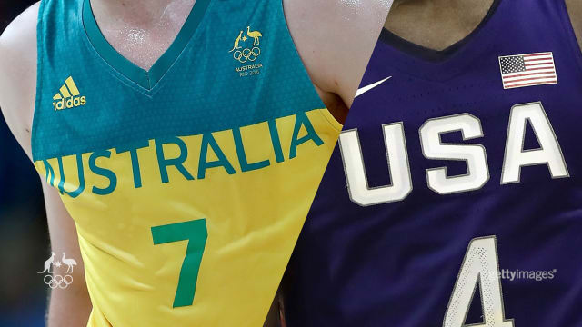 BANTER. Australia and the USA throwing shade in the basketball.