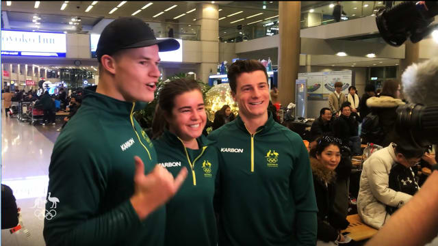 Mogul Olympians touch down in South Korea