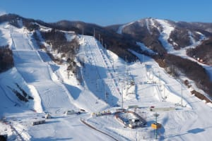 A general view of the FIS World Freestyle Cup 2016/2017 Moguls and Aerials venues at Bokwang Snowpark on February 13, 2017 in PyeongChang-gun, South Korea. The venues will be used for the 2018 PyeongChang Winter Olympic Games.