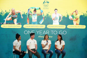 Chloe Esposito, Rohan Browning, Sally Pearson and Evania Pelite celebrate one year to Tokyo 2020
