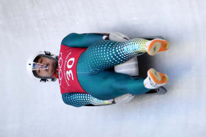 Alex ferlazzo in action in the men's luge at PyeongChang 2018